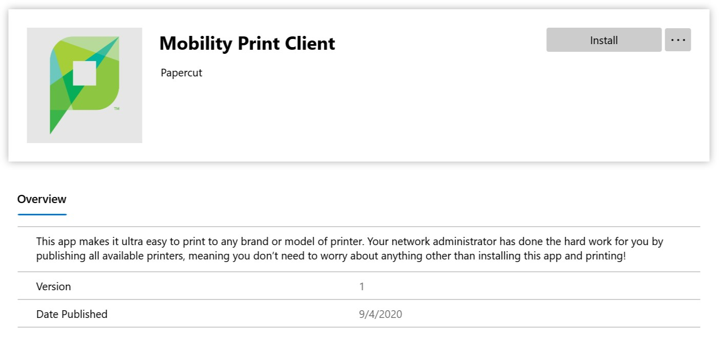 Mobility Print Client Install