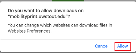 Example of the prompt that will require you to click Allow