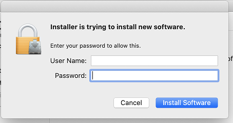 Example of the admin credentials prompt