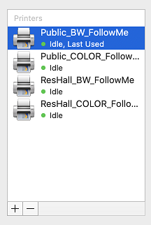 Example of the installed printers