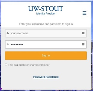 AccessStout Login page for user id and password