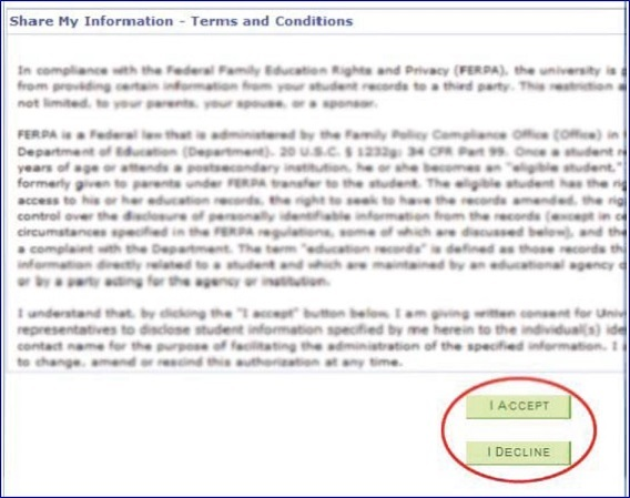 Share My Information Terms and Conditions Page