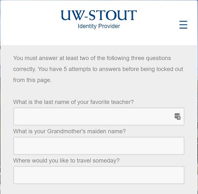 Example of security questions prompt