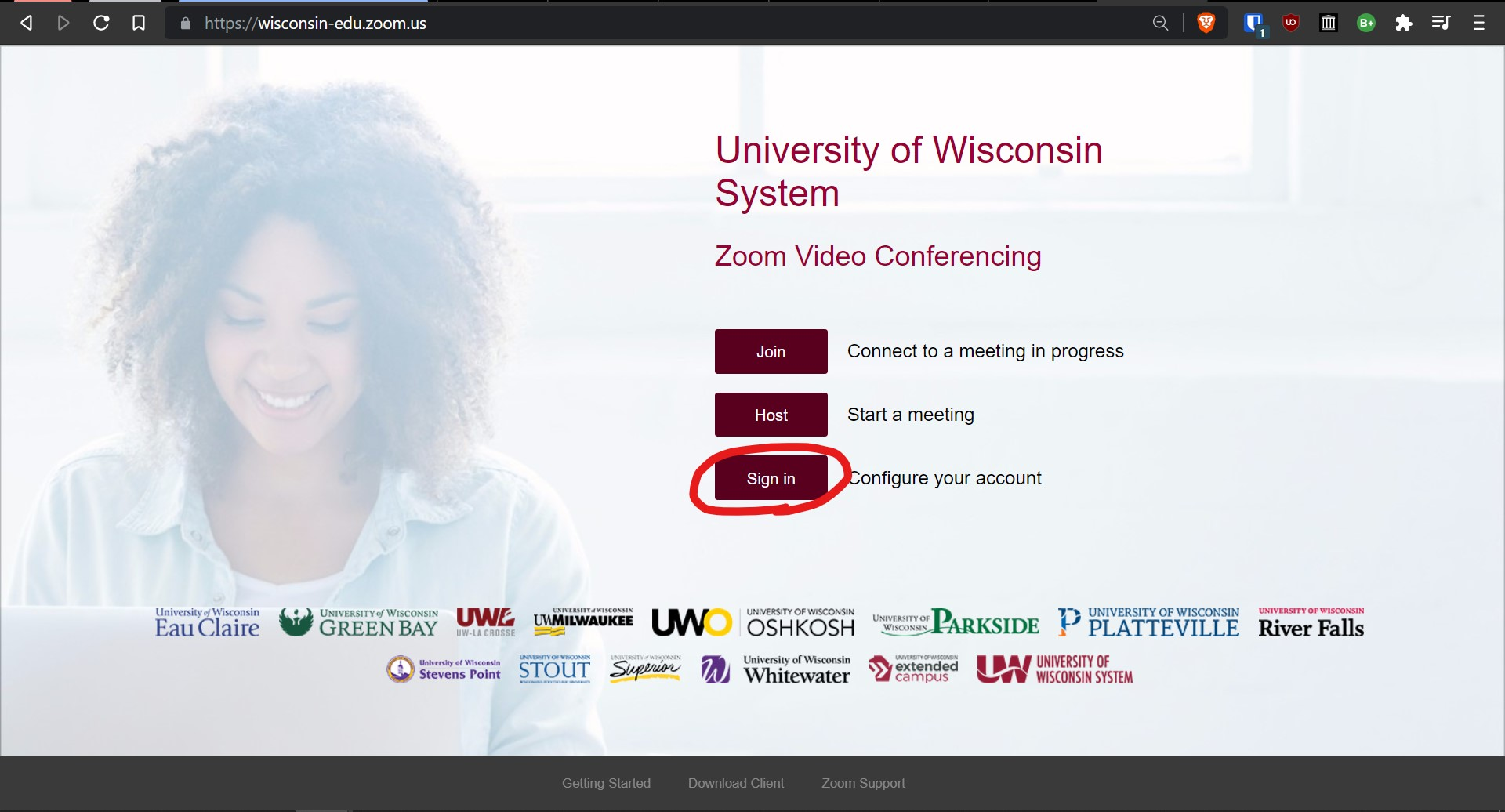 Screenshot of Wisconsin-edu.zoom.us homepage