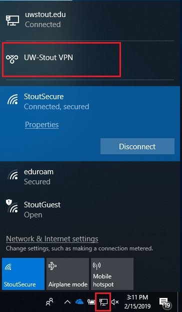 Network Icon and VPN