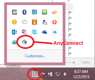 Launch AnyConnect from the notification area of the taskbar