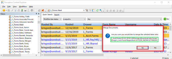 this picutre shows a dialog box that gives us a chance to verify the indexing of the merged documents.