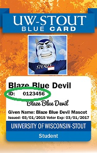 Blue Card with ID number circled