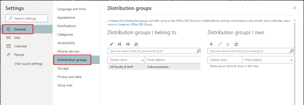 General > Distribution Groups