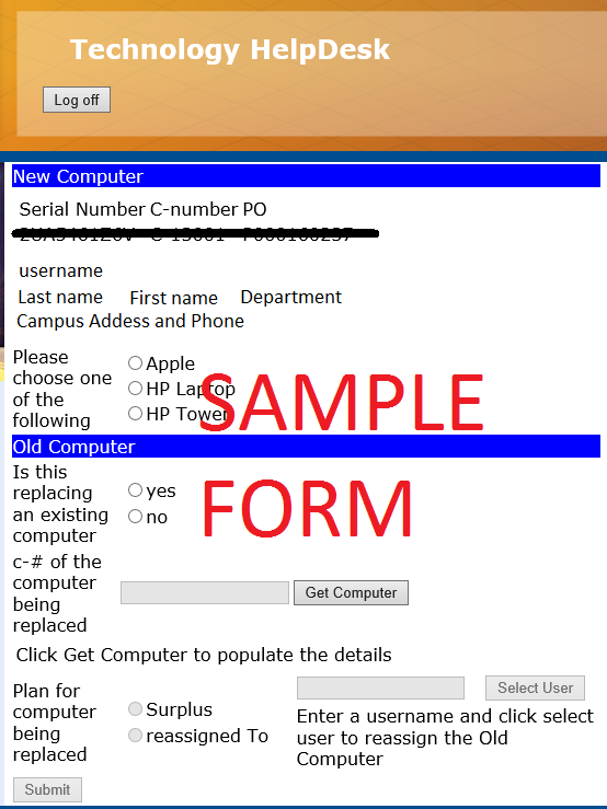 Sample Computer Cost Share Form