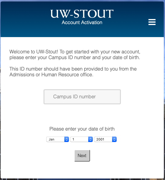 Enter Stout ID and Date of Birth