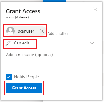 Network Scanning - Configure scans folder to OneDrive