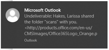 Undeliverable message from Microsoft