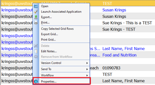 This picture shows the dropdown list that appears when we right click the document, properties is listed at the bottom of the list.