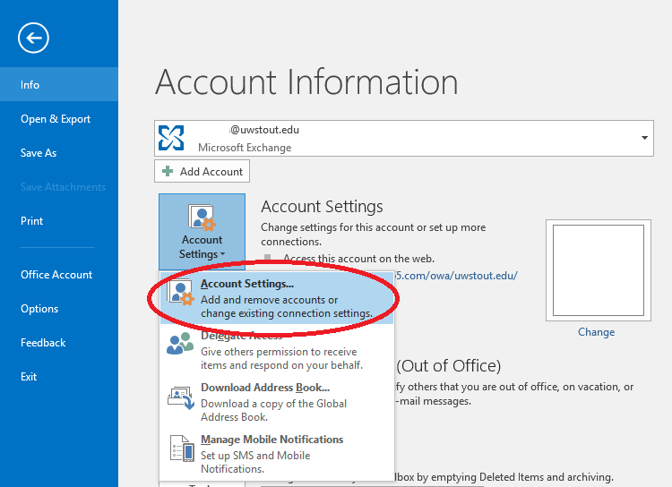 Account Settings Option in Outlook