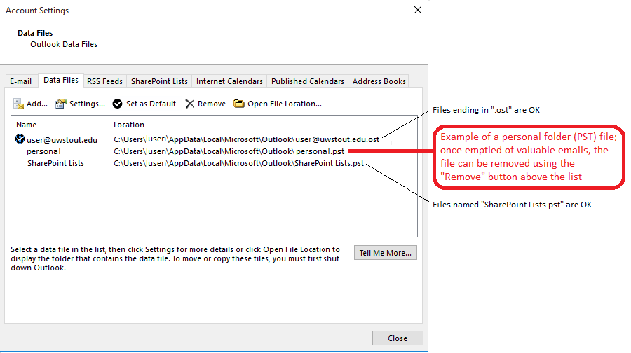 Data Files Box in Account Settings of Outlook