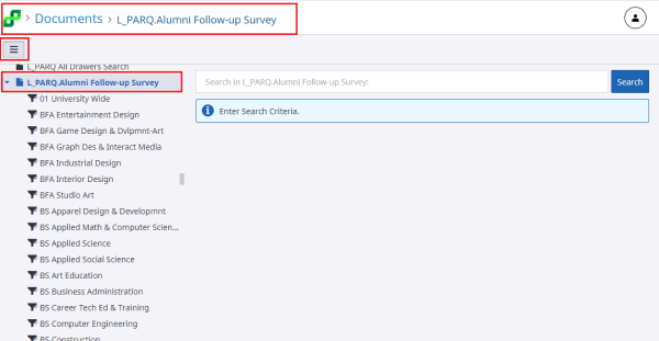 This picture shows the views on the left and the L_PARQ Alumni Follow-Up Survey option.