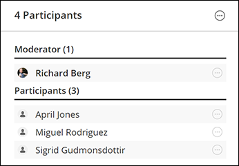 participants list with1 moderator and 3 participants