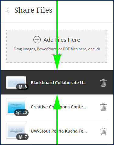 share files window with arrows indicating selected file