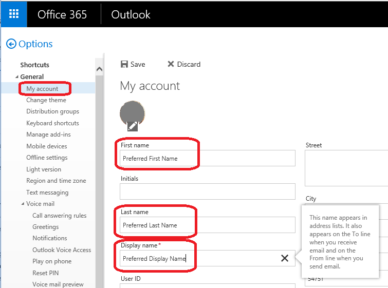 Preferred name set under general heading of mail settings in OWA
