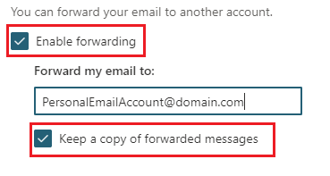 Click the check box show in this example to enable forwarding.