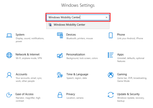 Windows Settings Searching Windows Mobility Center