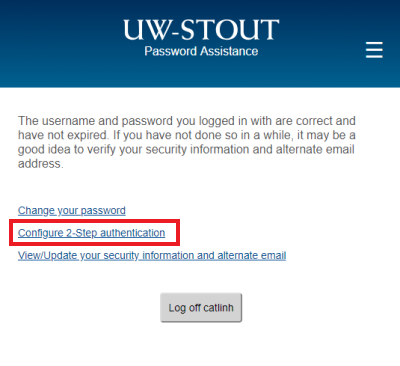 Select 2-Step Authentication