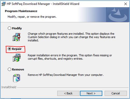 Repairing Applications in Windows