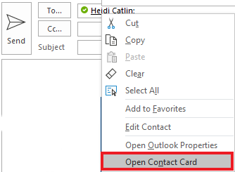 Right Click and select Open Contact Card