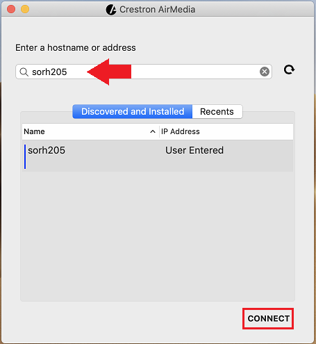 Enter Hostname and Connect