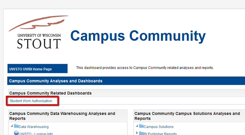 Campus Community dashboard access to student work auth