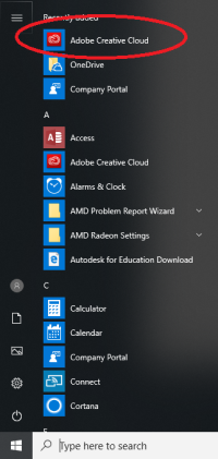 Adobe in Start Menu