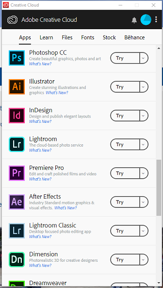 Creative Cloud showing trial versions for download