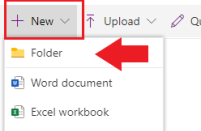 At the top of the Document Library, select + New > Folder