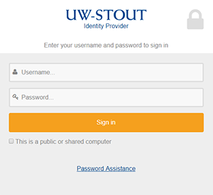 UW-Stout Identity Provider Login Screen