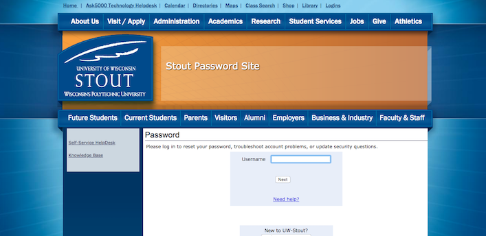 Picture of the stout password page.