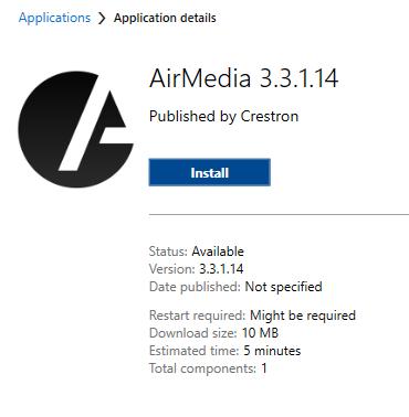 AirMedia Install button