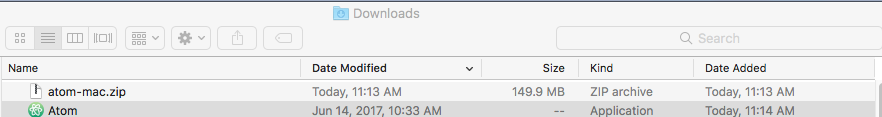 Atom in downloads folder