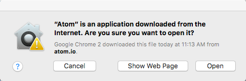 Atom is an application downloaded from the internet warning