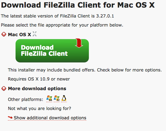 Download Filezilla Client for Mac OS