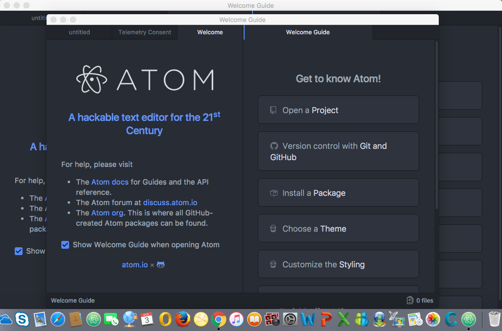 Atom intalled and open