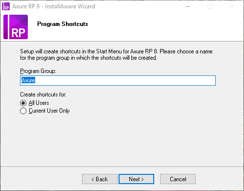 Program shortcut setup