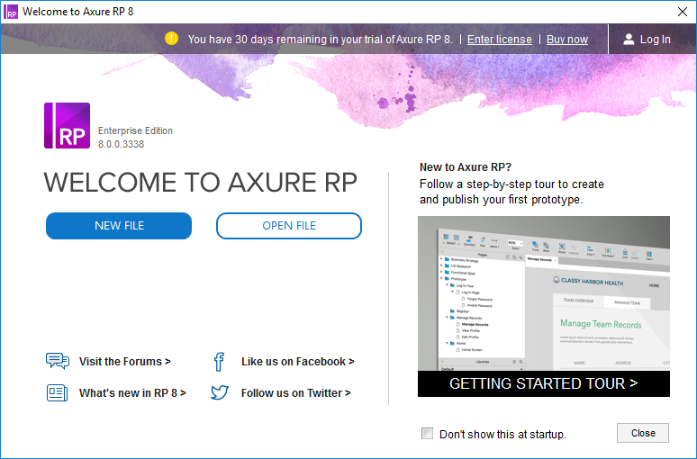 Axure welcome page