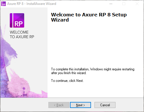 Welcome to Axure RP 8 Setup Wizard