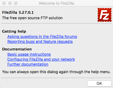FileZilla welcome message