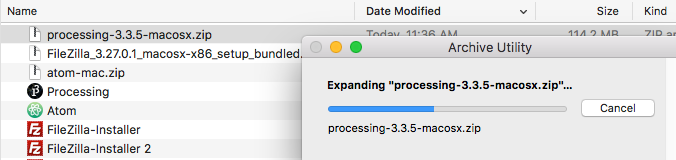 Processing in Downloads folder