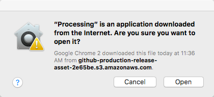 Processing is an application downloaded from the internet message
