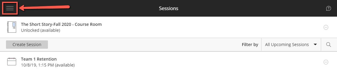 Sessions menu