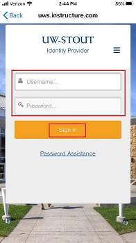 Enter Username and Password to Sign in