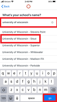 Search for University of Wisconsin-Stout and select go